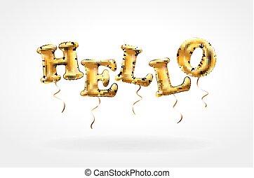 Gold metallic balloon font of upper case letters HELLO golden