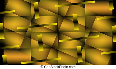 Gold metallic segments turning and overlapping, 3d illusion, abstract video background