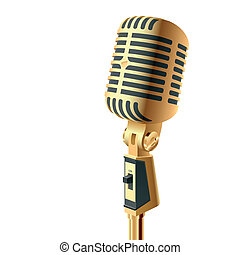 Gold microphone - Detailed Vector illustration of a gold...