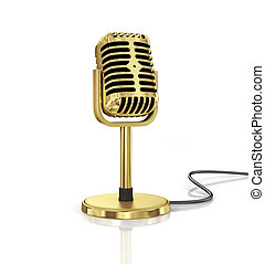 Gold Microphone isolated on the white background. Speaker...