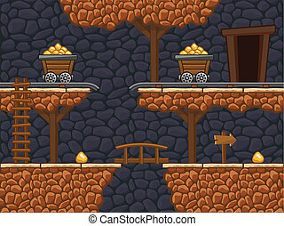 Gold mine - Seamless gold mine background with additional...