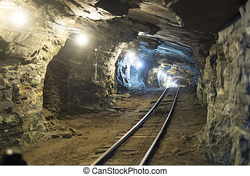 Gold mine tunnels - Perspective shot of gold mine tunnel...