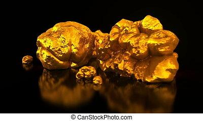 Gold mining. Native gold. Golden nuggets on black...
