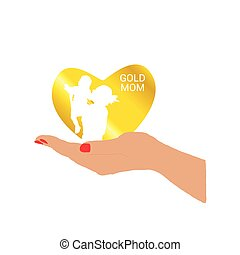 gold mom in hand vector