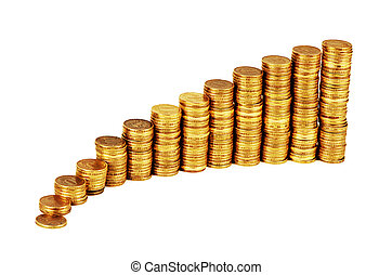 Gold money stack isolated on white background