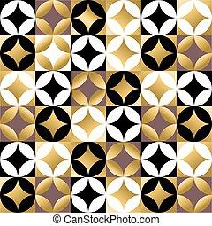 Gold mosaic tile seamless pattern in vintage style - Vintage...