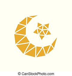 Gold Moslem Islamic Logo, Low Poly Style, Moon and Star Symbol, Ramadan Kareem Vector Illustration