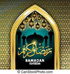Gold Mosque and stars ramadan kareem card in vector format.