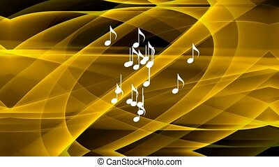 gold music abstract background, animated smoke in gold design, flying white musical notes in center. Abstract animated musical movie, 4k video