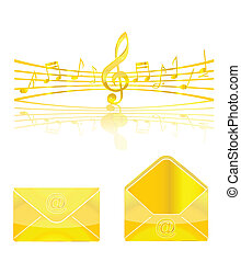 gold music and web elements set