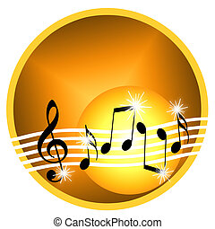 Gold music - Golden musical illustration with random notes ...