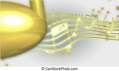Gold music notes and staff