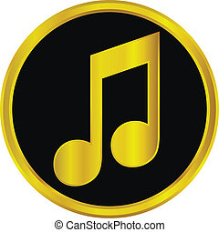 Gold music sign button