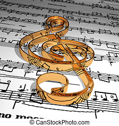 Music - Gold music symbol & Music sheet