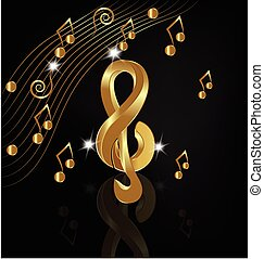 Gold Musical notes render - Musical gold notes background...