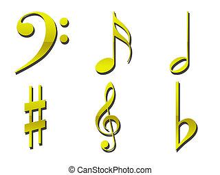 Gold Musical Symbols - Various gold musical symbols on a...