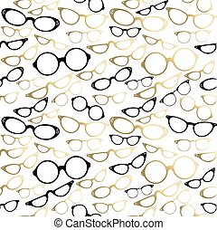 gold, muster, seamless, hüfthose, weinlese, brille