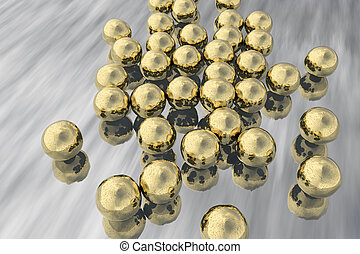 Gold nanoparticles illustration - Gold nanoparticles, 3D...