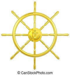 gold navy wheel  - navigation wheel with anchor emblem