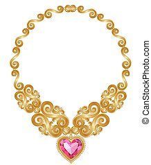 Gold necklace - The massive gold necklace with ruby heart