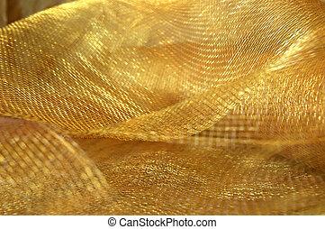 gold, netzgewebe, stoff