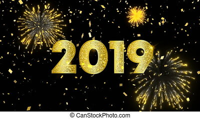 Gold New Year 2019 motion graphics animation with firework explosion and confetti. Elegant golden celebration video card for party night event. 4k greeting holiday footage.