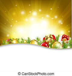 Gold New Year Card With Garland