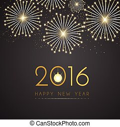 Gold new year on black background vector design