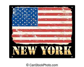 Gold New York Enamel Sign