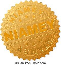Gold NIAMEY Medallion Stamp - NIAMEY gold stamp badge....