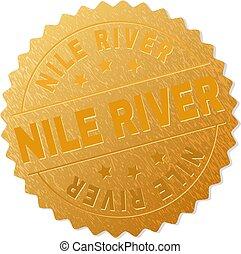 Gold NILE RIVER Medal Stamp - NILE RIVER gold stamp seal....