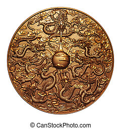 Gold nine dragon around the gold marble on white