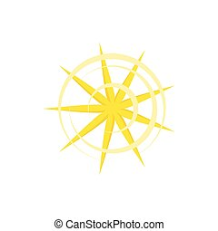 Gold nine pointed star icon in cartoon style