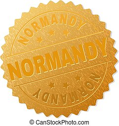 Gold NORMANDY Award Stamp - NORMANDY gold stamp seal. Vector...