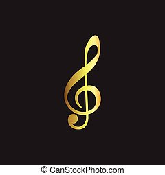 gold Note Music logo icon vector
