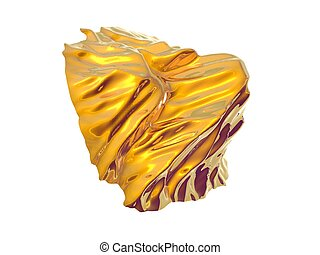 Gold Nugget - 3D Illustration of a gold nugget isolated on...