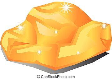 Gold nugget rock vector icon - Vector illustration of a gold...