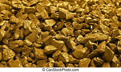 Gold Nuggets Pile Moving Shot - Moving past pile of gold...