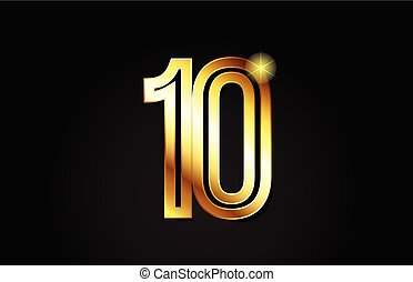 gold number 10 logo icon design