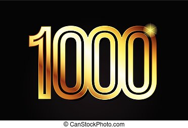 gold number 1000 logo icon design