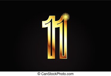 gold number 11 logo icon design
