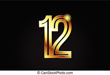 gold number 12 logo icon design