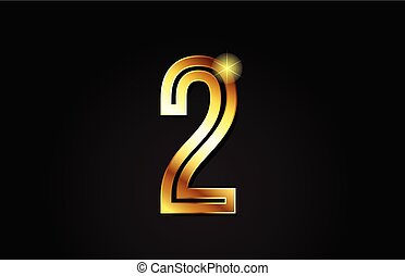 gold number 2 logo icon design