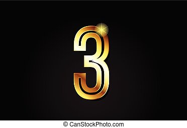gold number 3 logo icon design