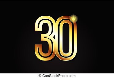 gold number 30 logo icon design