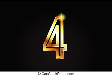 gold number 4 logo icon design