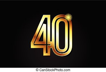 gold number 40 logo icon design