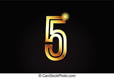 gold number 5 logo icon design