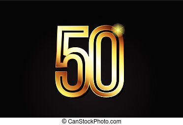 gold number 50 logo icon design