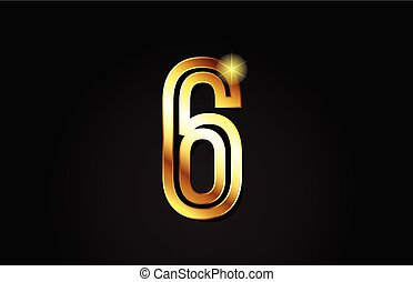 gold number 6 logo icon design